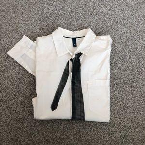 H&M Faux Tie Dress Shirt